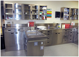 TriStar Vet blog: Veterinary casework (cabinets) with optional pass-through drawers, making it much easier for two people to work on patients.