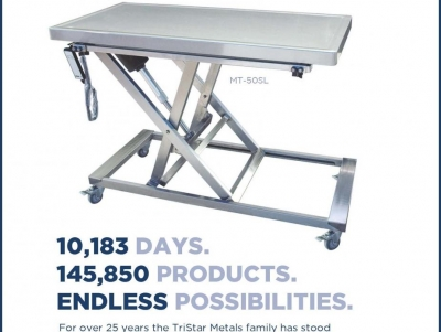 TriStar Vet ad for veterinary equipment: Stainless steel electric mobile lift table, safe, hands-free operation