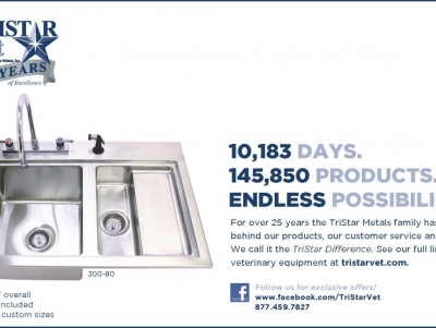 TriStar Vet ad for veterinary equipment: Stainless steel fecal sink is the ultimate sanitary solution