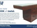 TriStar Vet ad for veterinary equipment: Stainless steel cabinets now in an option with the warmth of wood