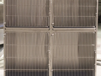 TriStar Vet cage photo: Line up our stackable stainless steel cages for your staff's convenience