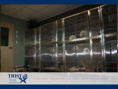 TriStar Vet cage photo: Stackable stainless steel cages are ideal for smaller patients in recovery or boarding