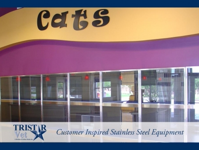 TriStar Vet cat condo photo: Clearly a fun space for cats, with stainless steel and glass panels and doors
