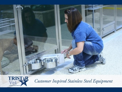 TriStar Vet kennel photo: Our stainless steel swivel bowl feeder offers safety for your staff