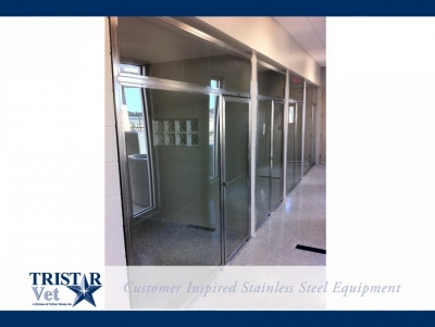 TriStar Vet kennel photo: Open, airy veterinary kennels with tempered glass doors