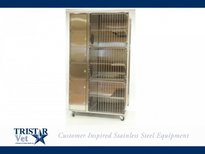 TriStar Vet kennel photo: Our stainless steel stacked kennels provide clean, quiet recovery