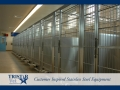 TriStar Vet kennel photo: This grand stainless steel dog kennel has rod doors and swivel bowl feeders
