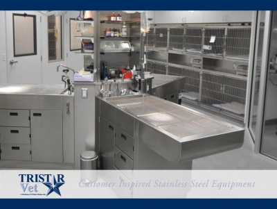 TriStar Vet treatment equipment photo: Our stainless steel work columns shown with nearby cages