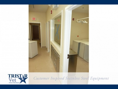 TriStar Vet treatment equipment photo: Our stainless steel cabinets fit nicely into this work area
