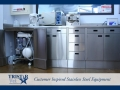 TriStar Vet treatment equipment photo: Stainless steel cabinets offer ample storage and hidden facilities