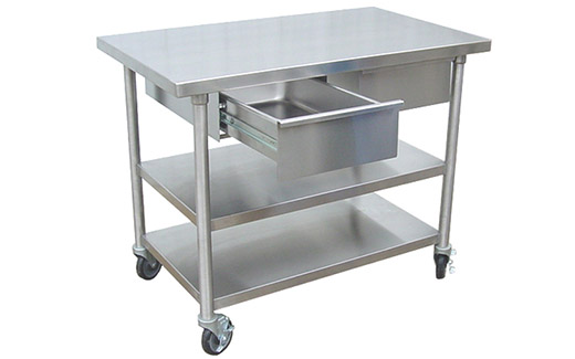 Stainless Veterinary Utility Prep Table With PassThru Drawers And - Stainless steel prep table with shelves