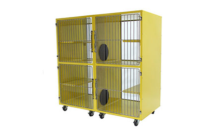 TriStar Vet photo: We designed our stainless steel and colorful powder-coated cat condos to include perch, play and rest areas with exclusive urine-retaining front edges and vertical portals to prevent dripping into lower units